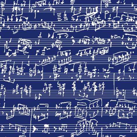Hand Written Sheet Music on Dark Blue // Small fabric by thinlinetextiles on Spoonflower - custom fabric