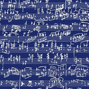 Hand Written Sheet Music on Dark Blue // Small