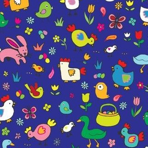 Spring Chicks & Bunnies - Blue