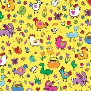 Spring Chicks & Bunnies - Yellow