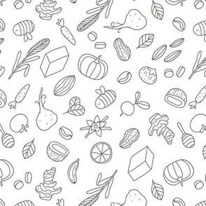 healthy food pattern doodle