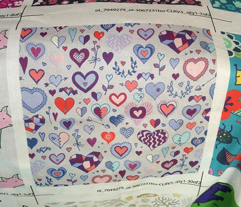 Hearts - blue, pink & grey