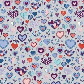 Hearts - blue, pink & grey