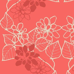 Floral Vine in Salmon