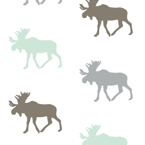 Multi Moose // grey,mint, brown fabric by littlearrowdesign on Spoonflower - custom fabric