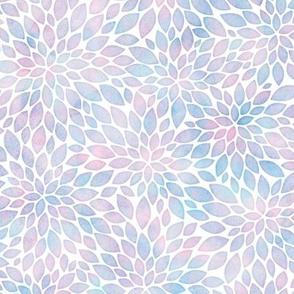 Cotton Candy Colored Watercolor Dahlia Pattern