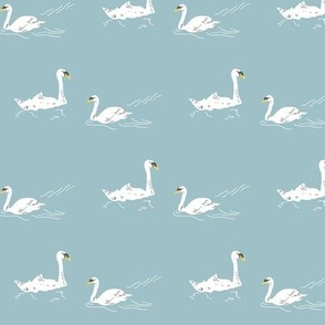 Retro Swan lake - aqua small