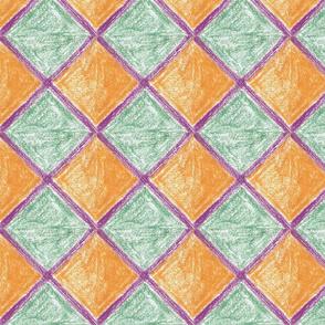 Squares - green and orange by Sara Aurora Waters