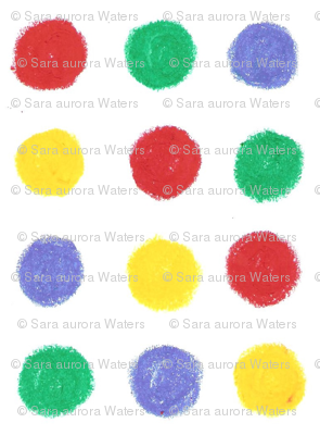Yellow, red, blue and green Dots by Sara Aurora Waters