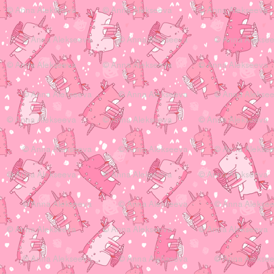 unicorn icecream pattern pink 2