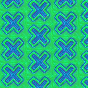 Blue Cross on green by Sara Aurora Waters