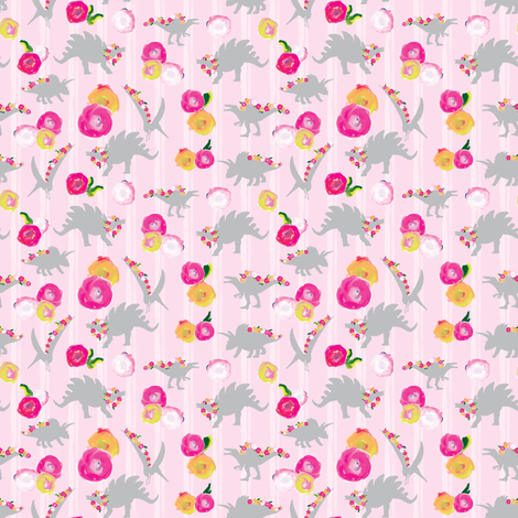 15-06K SMALL Blush Pink Girl Dinosaur 4 x 3 ||Watercolor Floral white stripe gray grey _ Miss Chiff Designs fabric by misschiffdesigns on Spoonflower - custom fabric