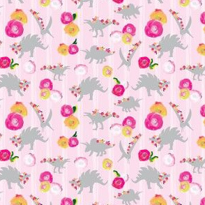 SMALL Blush Pink Girl Dinosaur 4 x 3 ||Watercolor Floral white stripe gray grey _ Miss Chiff Designs