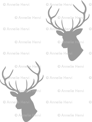 Gray Deer Silhouette on white half scale