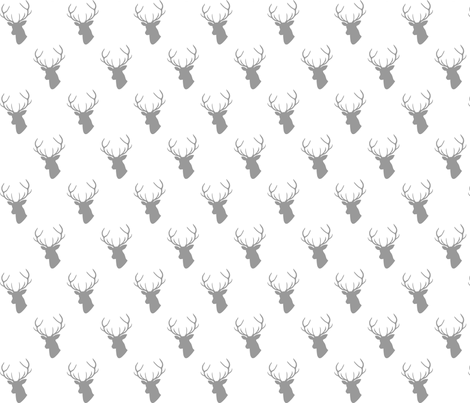 Gray Deer Silhouette on white half scale fabric by mrshervi on Spoonflower - custom fabric
