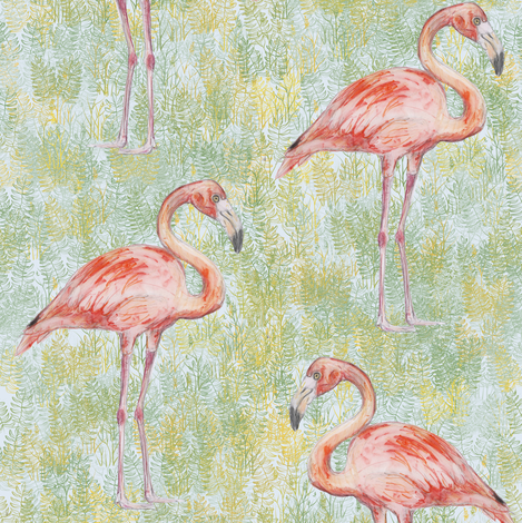 Flamingo Watercolor fabric by eclectic_house on Spoonflower - custom fabric