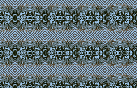 Mirrored African Zebras in blue   and black  with diamond background fabric by lazella_rosetta on Spoonflower - custom fabric