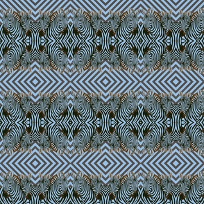 Mirrored African Zebras in blue   and black  with diamond background