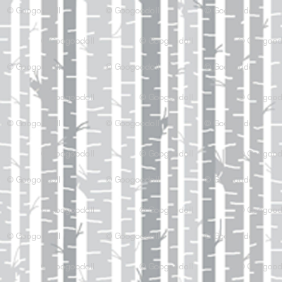 Birch Trees Gray on White Background