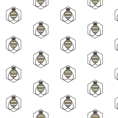 Geometric Bee fabric by bashfulbirdie on Spoonflower - custom fabric