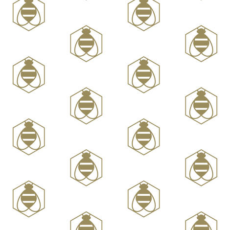 Geometric Bee in Gold fabric by bashfulbirdie on Spoonflower - custom fabric