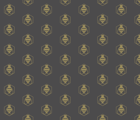 Bee Golden on Gray fabric by bashfulbirdie on Spoonflower - custom fabric
