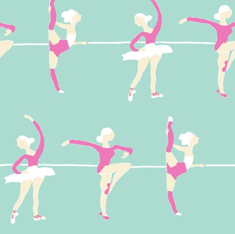 ballet class in mint fabric by canigrin on Spoonflower - custom fabric