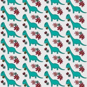 Dinosaurs with Daisies - Turquoise Brontosaurus on gray with colored flowers