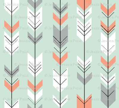 Fletching arrows // coral/grey/white on mint
