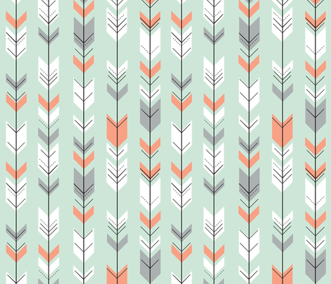 Fletching arrows // coral/grey/white on mint fabric by littlearrowdesign on Spoonflower - custom fabric
