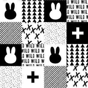 Monochrome Bunny Quilt top // cross/wild