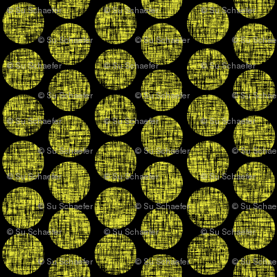 Black on acid yellow, mid-century linen-weave polka dots on black by Su_G