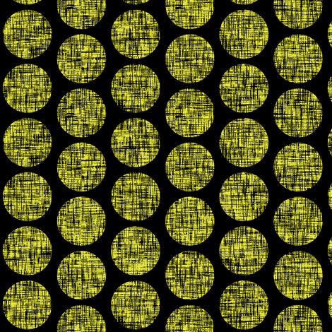 Black on acid yellow, mid-century linen-weave polka dots on black by Su_G fabric by su_g on Spoonflower - custom fabric