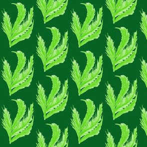 Feathery Leaf Fronds on Forest Green - Small Scale