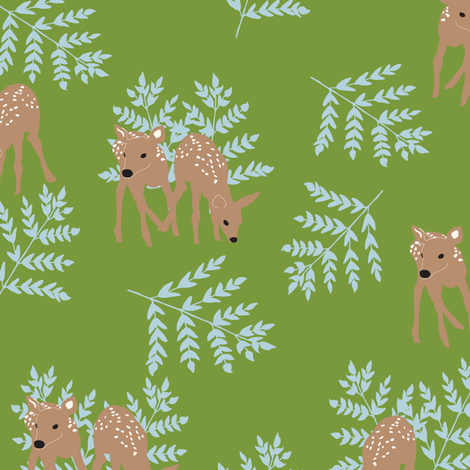 Fawns on Green fabric by vieiragirl on Spoonflower - custom fabric