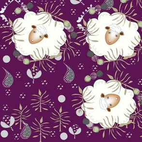 Happy Sheep Garden-Purple Background