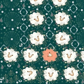 Happy Sheep Garden-Teal Backgroud