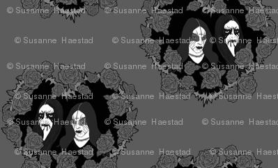 Black Metal grey roses