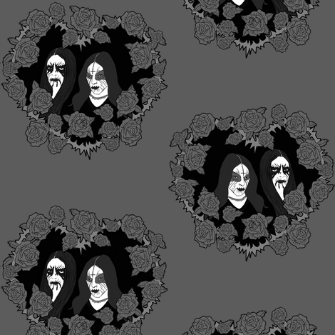 Black Metal grey roses fabric by susiprint on Spoonflower - custom fabric