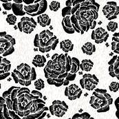 wood cut roses - black/white/clay