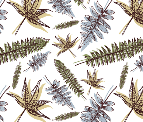 Scattered Ferns fabric by elizabeth_brown on Spoonflower - custom fabric