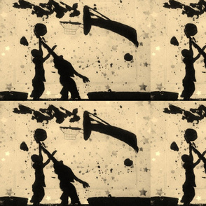 Spring Basketball Fun Silhouette