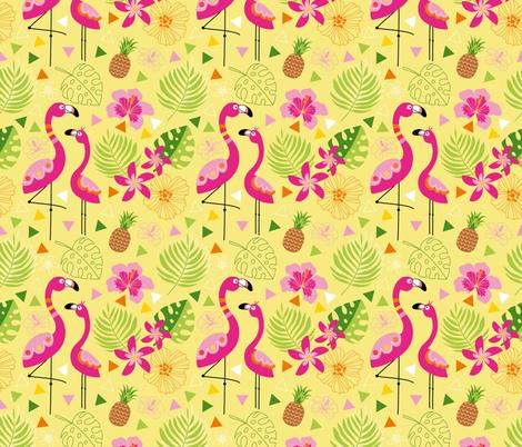 PINK FLAMINGOS banana yellow fabric by doro_kaiser on Spoonflower - custom fabric