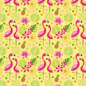PINK FLAMINGOS banana yellow