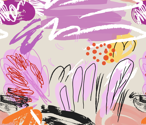 Abstract sketched garden trees purple cream fabric by zebra_finch on Spoonflower - custom fabric