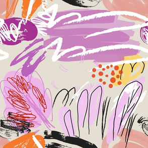 Abstract sketched garden trees purple cream