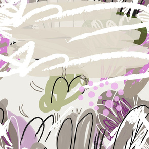 Abstract sketched garden trees gray and purple