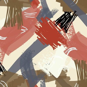 Abstract scribbles red gray