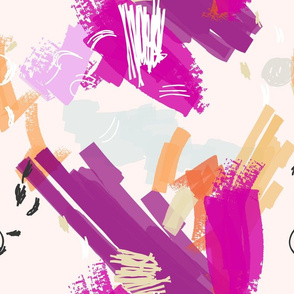 Abstract scribbles purple orange and light pink