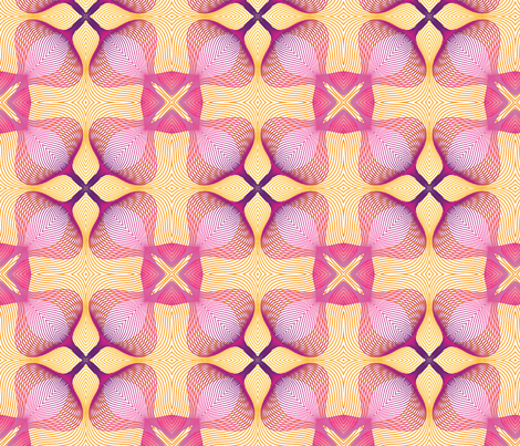 Pink and Yellow Floral Guilloche Pattern fabric by bing-bungalow-design-house on Spoonflower - custom fabric
